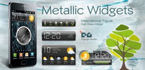 HD Metallic Widgets - Погода, часы, батарея