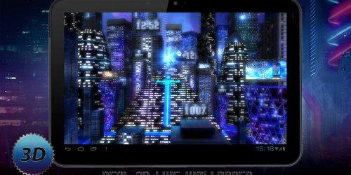 Space City 3D - Обои с часами, погодой и батарейкой