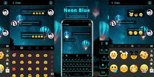 Тема клавиатуры, Неоновый синий