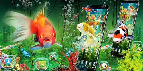 Тема 3D Aquarium Japaneses Koi Fish на Андроид